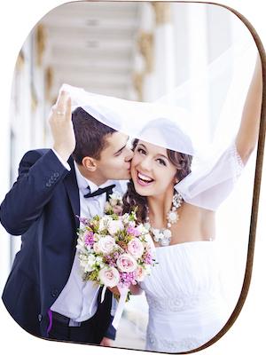 Sous-verre photo de nouveaux mariés