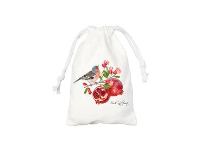 Sac à cordons blanc avec image d'oiseau